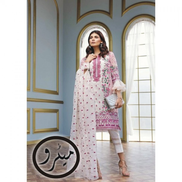 Elegant White Chiffon Dress with Pink Embroidery