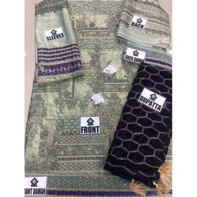 Embroidered Maysuri Fabric with chiffon embroidered Dopatta
