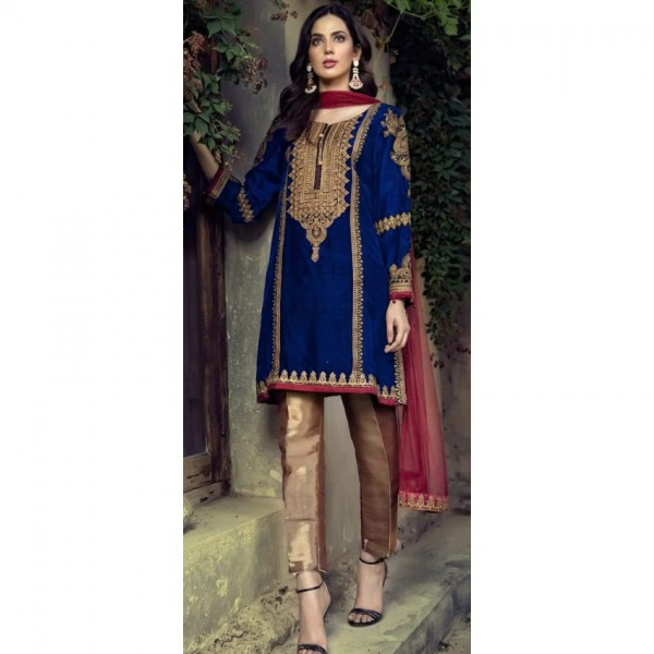 Royal Blue Dress with Silver Embroidery and Pink embroidered dopatta