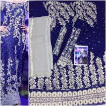 Beautifully Embroidered Blue Bridal Maxi Dress FS-002