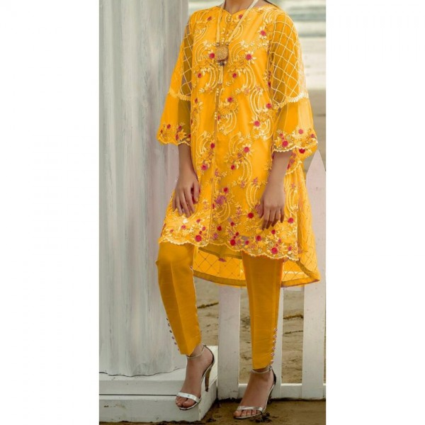 Embroidered Net Dress with Banarsi Trouser