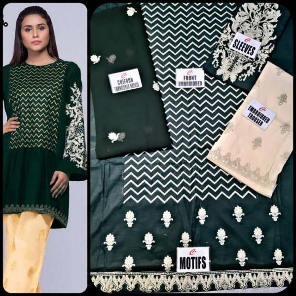 Heavy Embroidered Black Dress in Cotton Fabric with Chiffon Dupatta
