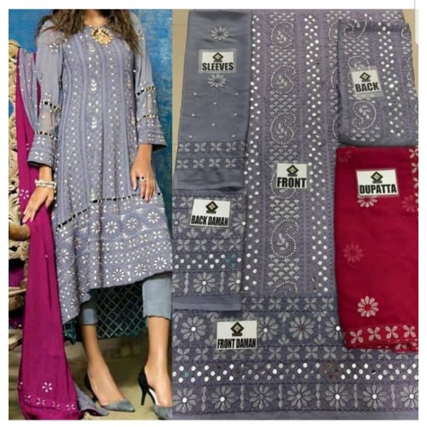 Chickenkari luxury collection Chiffon Grey Color Full Embroidery Dress