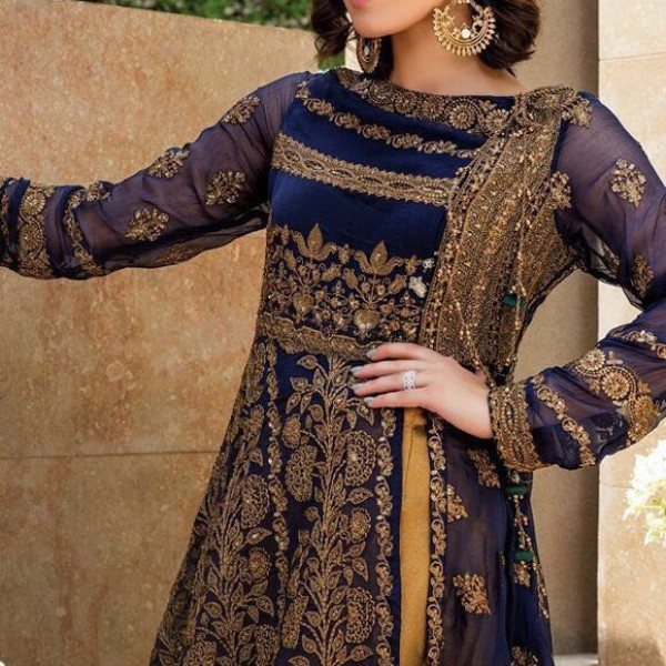 Heavy Embroidered Hit Design Chiffon Dress