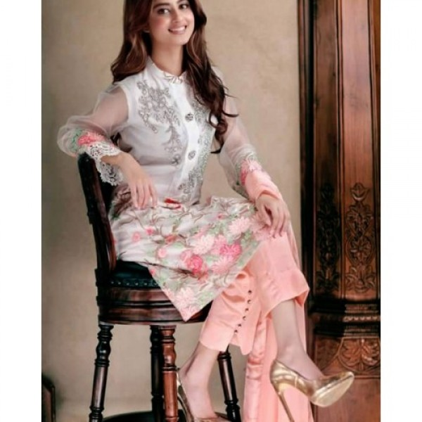 Elegant Pink and White Embroidered Ladies Dress for Party Wear
