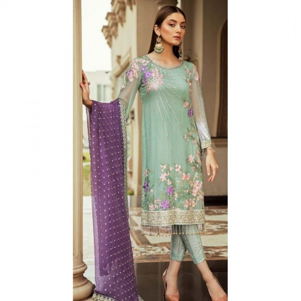 Serene Handwork and Sequence Work Embroidery Beautiful Color Dress