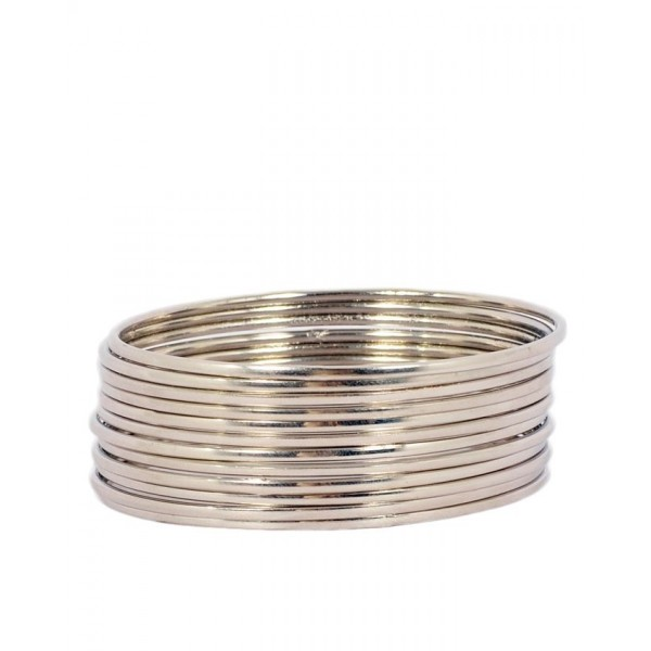 Silver Roudium Plated Traditional 12 Bangles