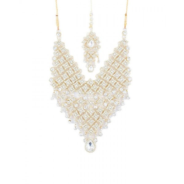 Pack of 2 - Golden and White Gold Plated American Zircons Bridal Set