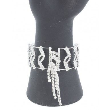Silver Plated White American Zircon Bangle For Women