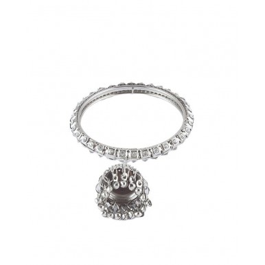 Pack of 2 - Silver Rodium Plated Jhumki Bangles For Women