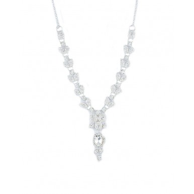 Silver Silver Rodium Plated White Crystal Necklace Set