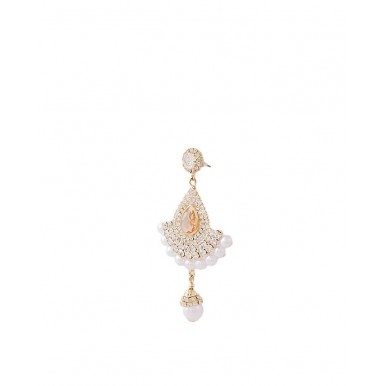 Golden Plated Pearl Earrings with Changable Crystals for Women