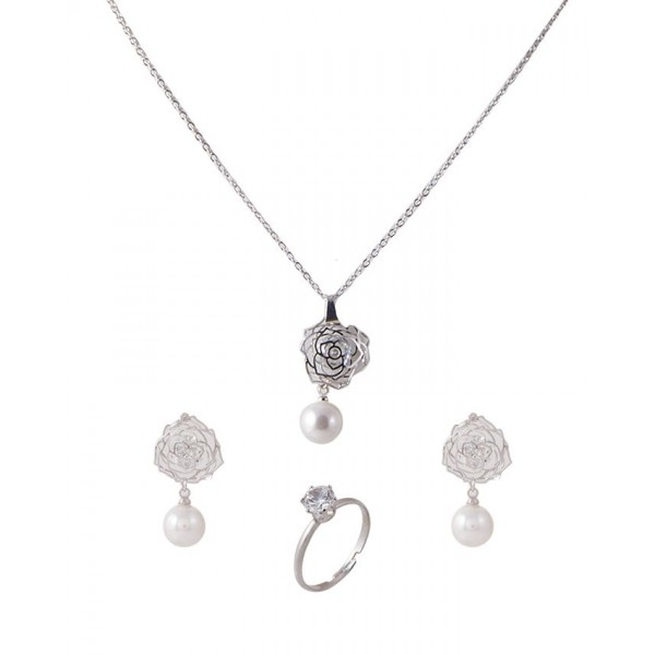 Silver Rhodium Pendant Set with Ring for Women