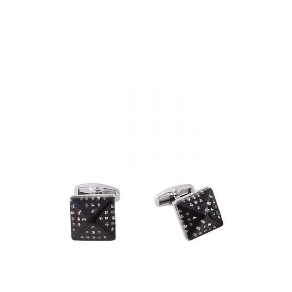 Jet Black Rhodium Cufflink with White Zircon - Diamond Shaped