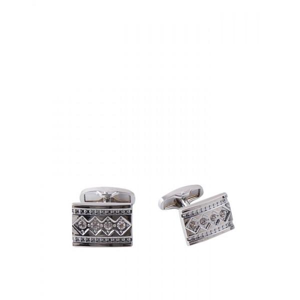 Silver Rhodium Daimond Zircons Cufflinks for Men