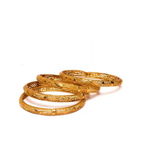 18K Gold Plated - Set Of Four Bangles Golden