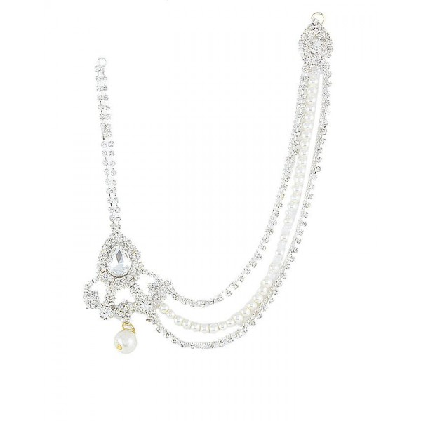 Silver Rodium Plated White Zircons and Pearl Matha Patti For Women