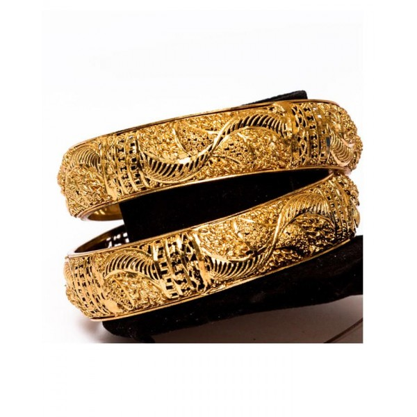 21K Gold Plated Pair Of Bangles - Golden