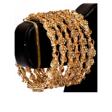 Gold Plated - Set Of Zircon Bangle - Golden