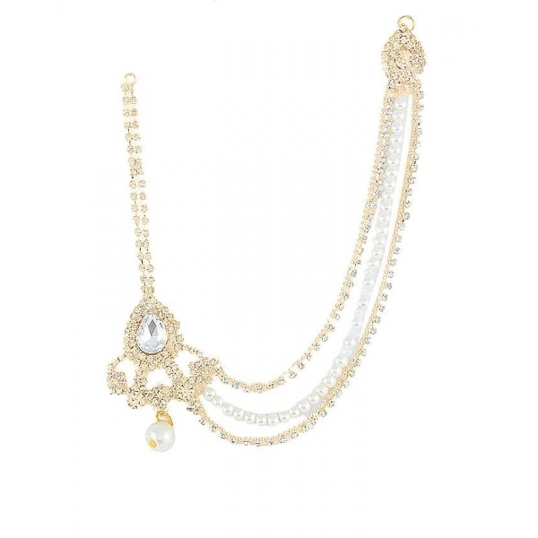 Golden Gold Plated White Zircons Pearl Matha Patti For Women