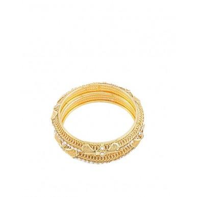 Golden Gold Plated Zircon Bangles For Women