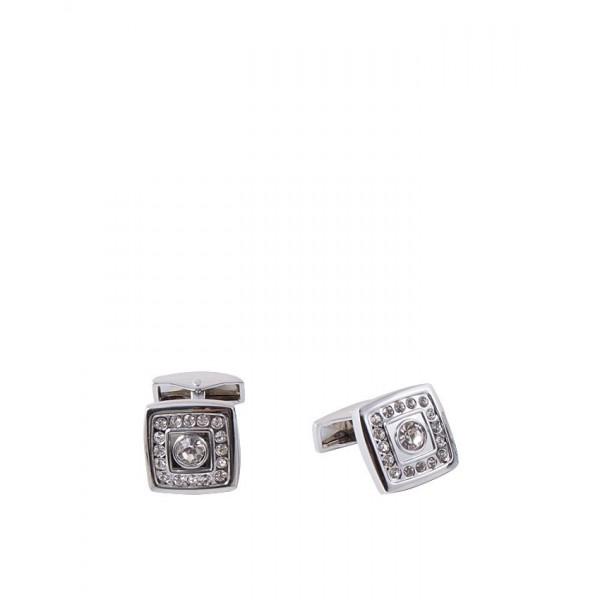 Silver Rhodium Square Shaped Zircon Cufflink