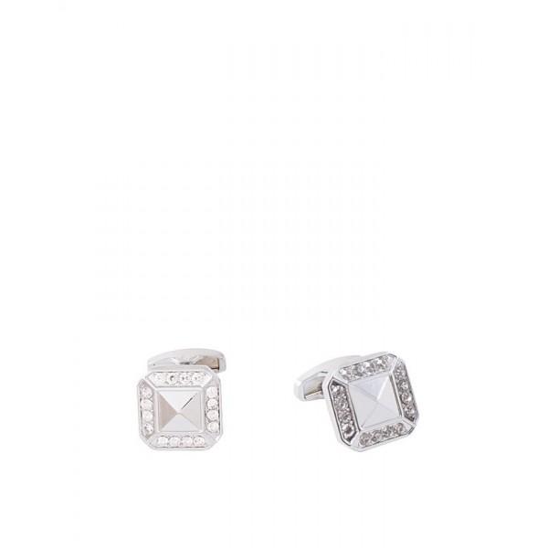 Rhodium Diamond Shaped Zircon Cufflinks