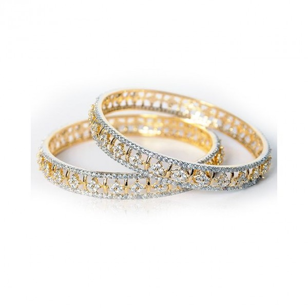 Pair of 1k Gold Plated On Alloy Bangles for Women