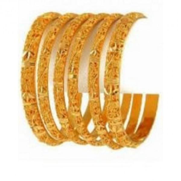 Set of 6 - Gold Plated Bangles - Golden