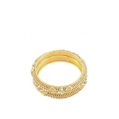 Pack of 2 - Golden Gold Plated Zircon Bangles For Women