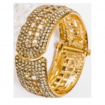 Gold Plated Zircon - Hand Made Bangle - Golden