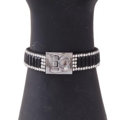Black Velvet & Crystal Bracelet for Women