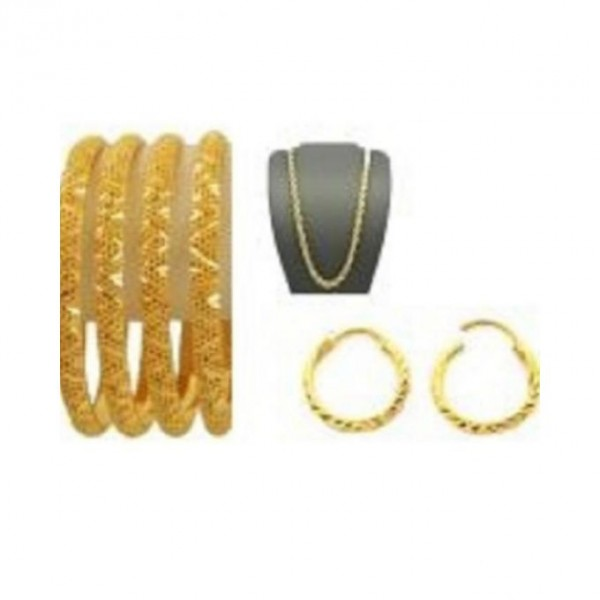 Set of Gold Plated Bangles, Earrings and 18K Gold Plated Chain