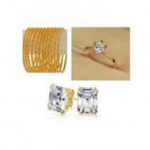 Bundle Offer - Gold Plated Ring, Earrings & Bangles - Golden