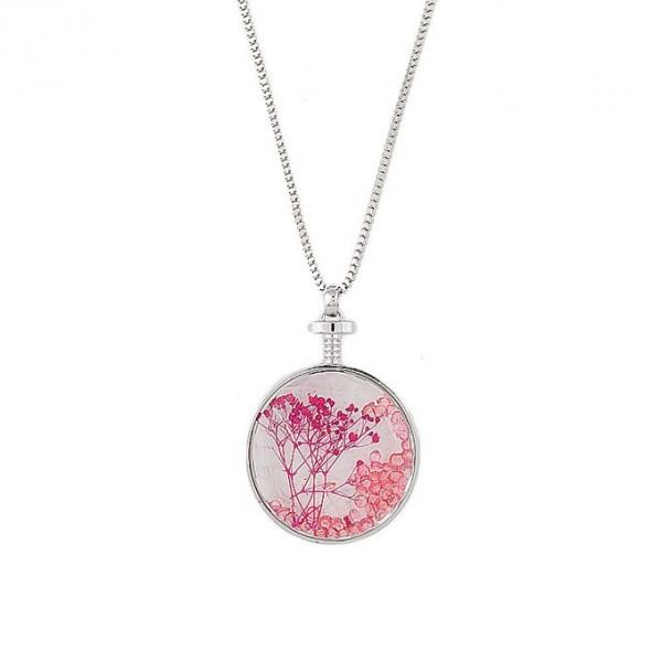 Pink - Silver Rodium - Long Chain Pandent For Women