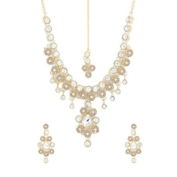 Golden and White Gold Plated Crystals Necklace Set