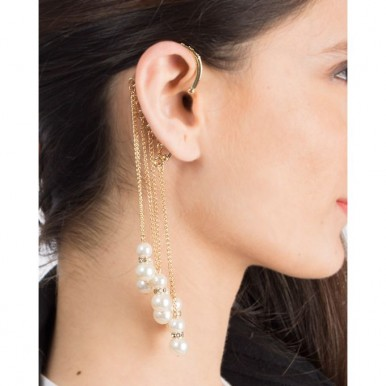 Golden Gold Plated Pearl Earcuffs For Women - jh722