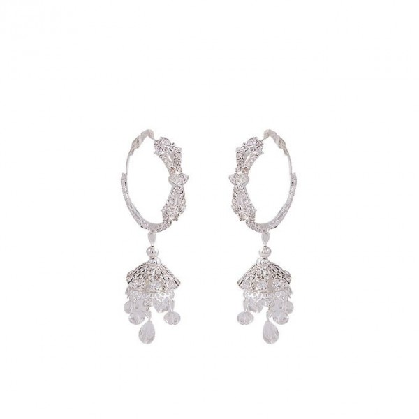 Silver Rhodium Plated Zirconic Earrings for Women