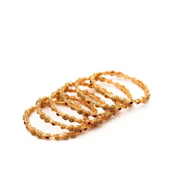 21K - Gold Plated - Zircon Bangle - Golden