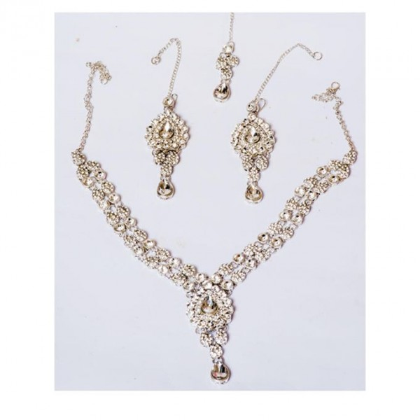 Silver Plated - White Zirconia Neckless Set - Silver