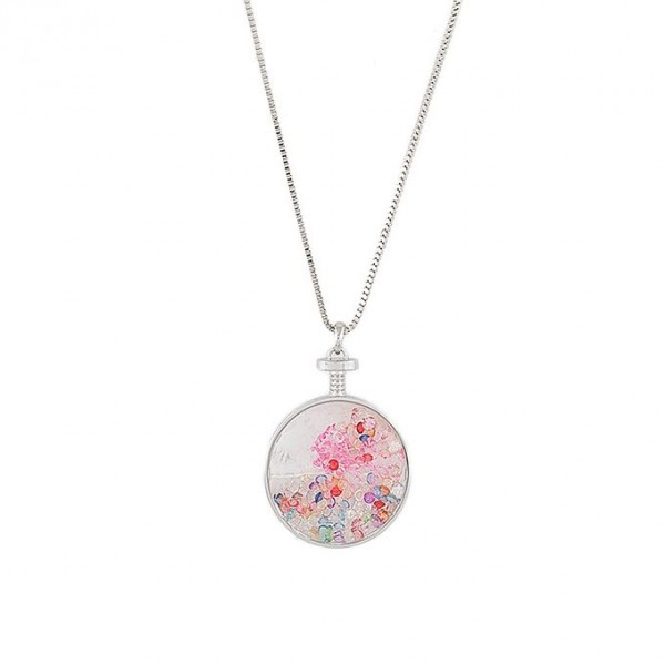 Multicolor - Silver Rodium - Long Chain Pandent For Women