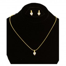Gold Plated - Heart Shape Zircon - Pendant Set - Golden