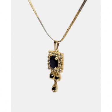 1k Gold Plated Black Stone Pendant