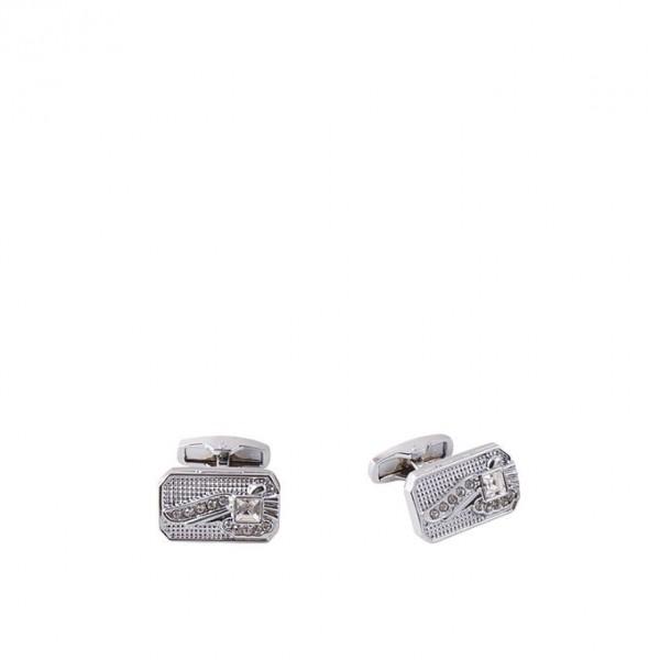 Rhodium White Zircon Cufflink