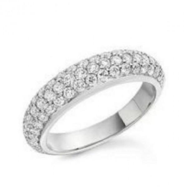 Silver Plated Rhinestone Ring - Silver