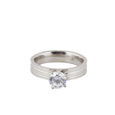 Silver Rodium Plated Zircon Ring For Women
