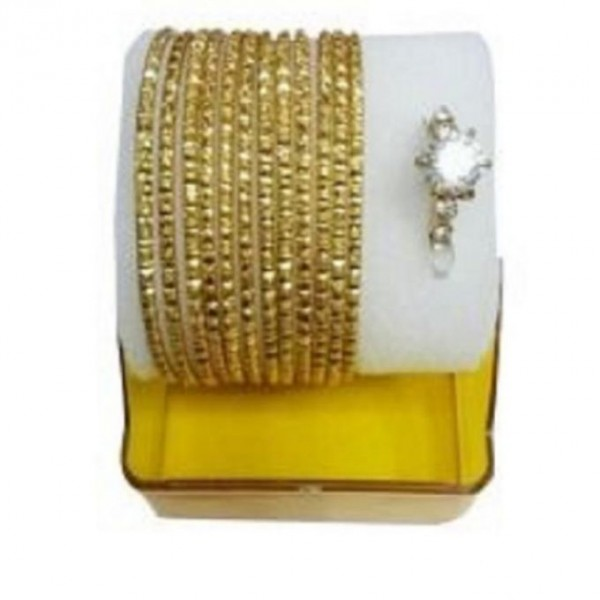Gold Plated Bangles & Ring - Golden & Silver