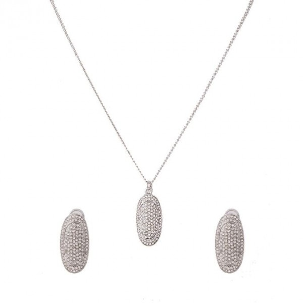 Silver Rhodium Oval Shape Pendant Set for Women