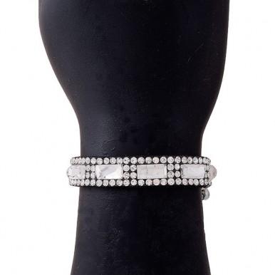 Silver Velvet & Crystals Zircon Bracelet for Women