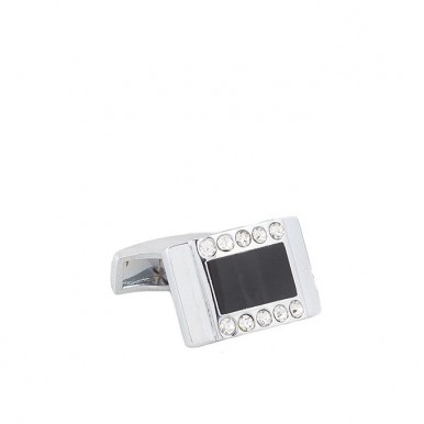 Black and Silver Rhodium Plated Cufflinks for Men